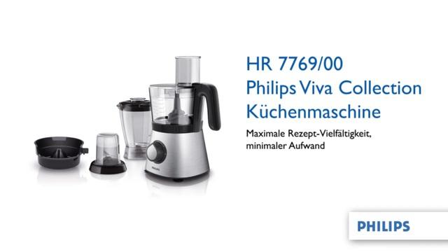 Philips Viva Collection Küchenmaschine HR7769/00 850 W, kompaktes 4-in-1-Design, 2,1l-Schüssel, Zubehörteile für 30+ Fu Video 3